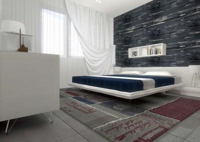 Projekt wnętrza sypialni w intensywnym granacie z przewagą bieli.