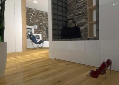 Ściana przedpokoju przeznaczona do przechowywania ubrań oraz butów.