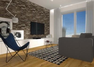 Wnętrze salonu z telewizją w kompleksowym projekcie apartamentu.