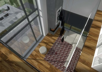 Widok na projekt wnętrza salonu z góry