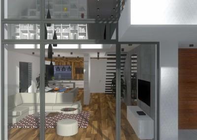 Wnętrza domu widziane od frontu