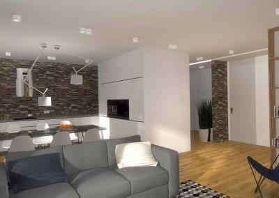 Otwarty, nowoczesny salon połączony z kuchnią oraz przedpokojem - Mobiliani Design, Bydgoszcz.