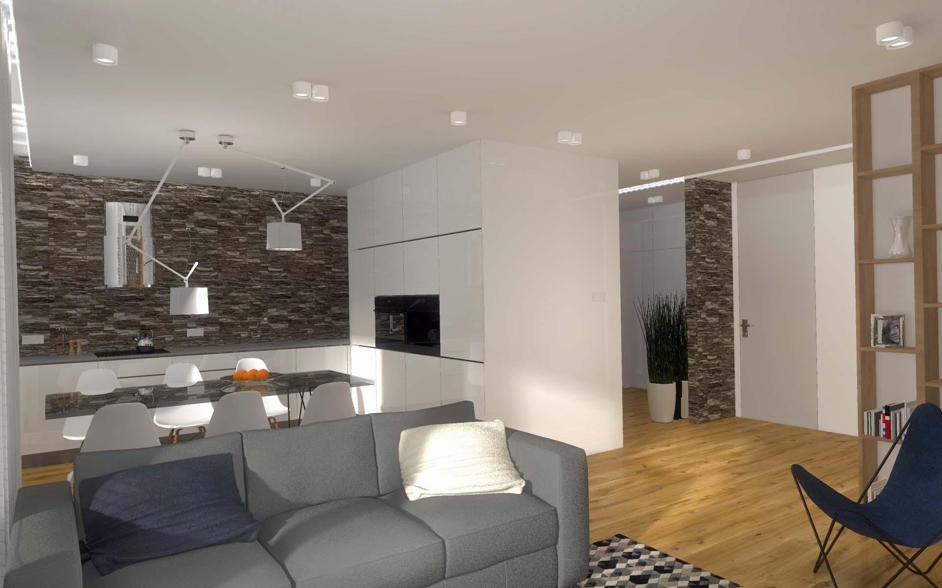 Projekt i aranżacja mieszkania Atrium Park Bydgoszcz  Mobiliani Design Bydgo   -> Salon Kuchni Rumia