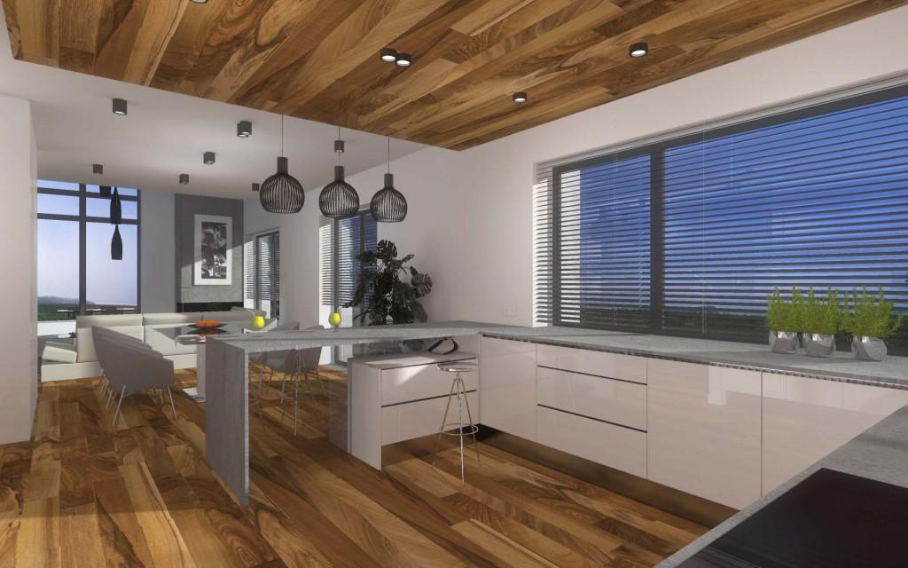 Projektowanie wnętrz kuchni zakładało wykonanie mebli kuchennych zawierających nowoczesne rozwiązania (duża ilość miejsca, przestronnych szafek cargo, cichy domyk itp.)