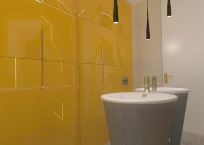 Intensywny kolor w łazience z projektu wnętrza Mobiliani Design w Bydgoszczy.