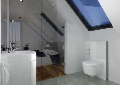 Sypialnia i łazienka połączone przezroycztymi drzwiami, w nowoczesnym, skandynawskim stylu