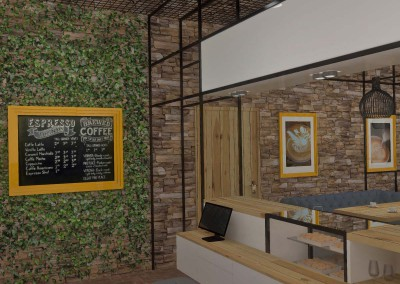 Projekt wnętrza baru - lada kawiarniana.