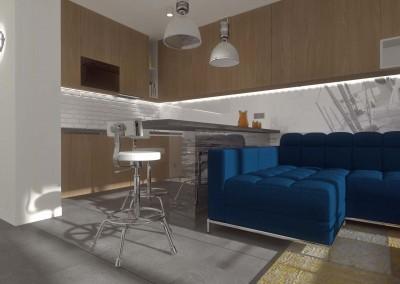 Salon z częścią kuchenną apartamentu Kropla Beskidu.
