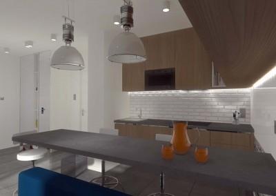 Część kuchenna otwartego salonu.