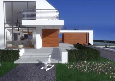 Widok na dom z Bydgoszczy z boku - projekt domu zawiera szeroki taras i basen otoczony ogrodem.