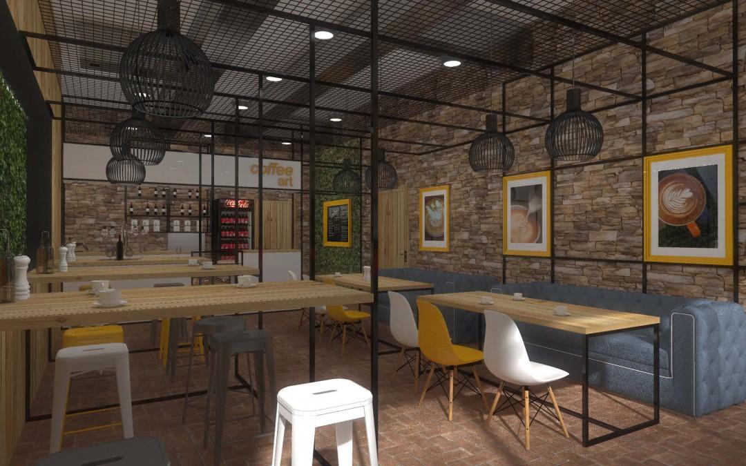 Projekt wnętrza kawiarni Coffe Shop w Bydgoszczy