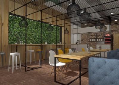 Projekt części przestrzeni dla Gości kawiarni.