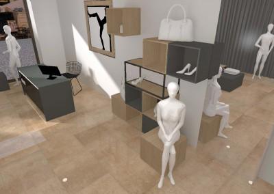 Rzut z góry w projekcie wnętrza przestrzeni sklepu.