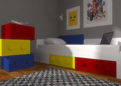 Projekt wnętrza pokoju z meblami z klocków - Mobiliani Design.