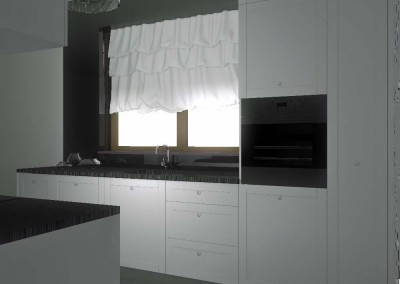 Projekt wnętrza kuchni z eleganckimi meblami i dodatkami
