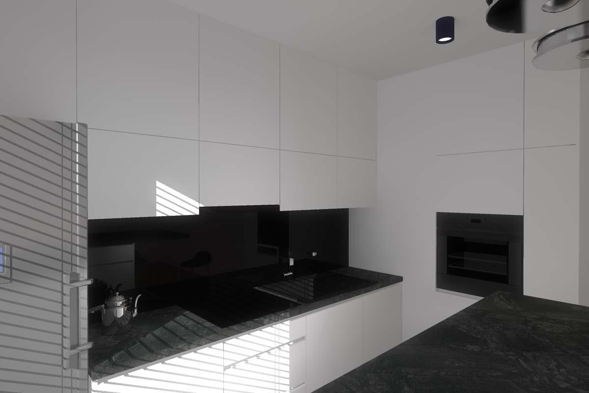 Projekt wnętrza designerskiej, biało czarnej kuchni w   -> Kuchnia Bialo Czarna Zdjecia