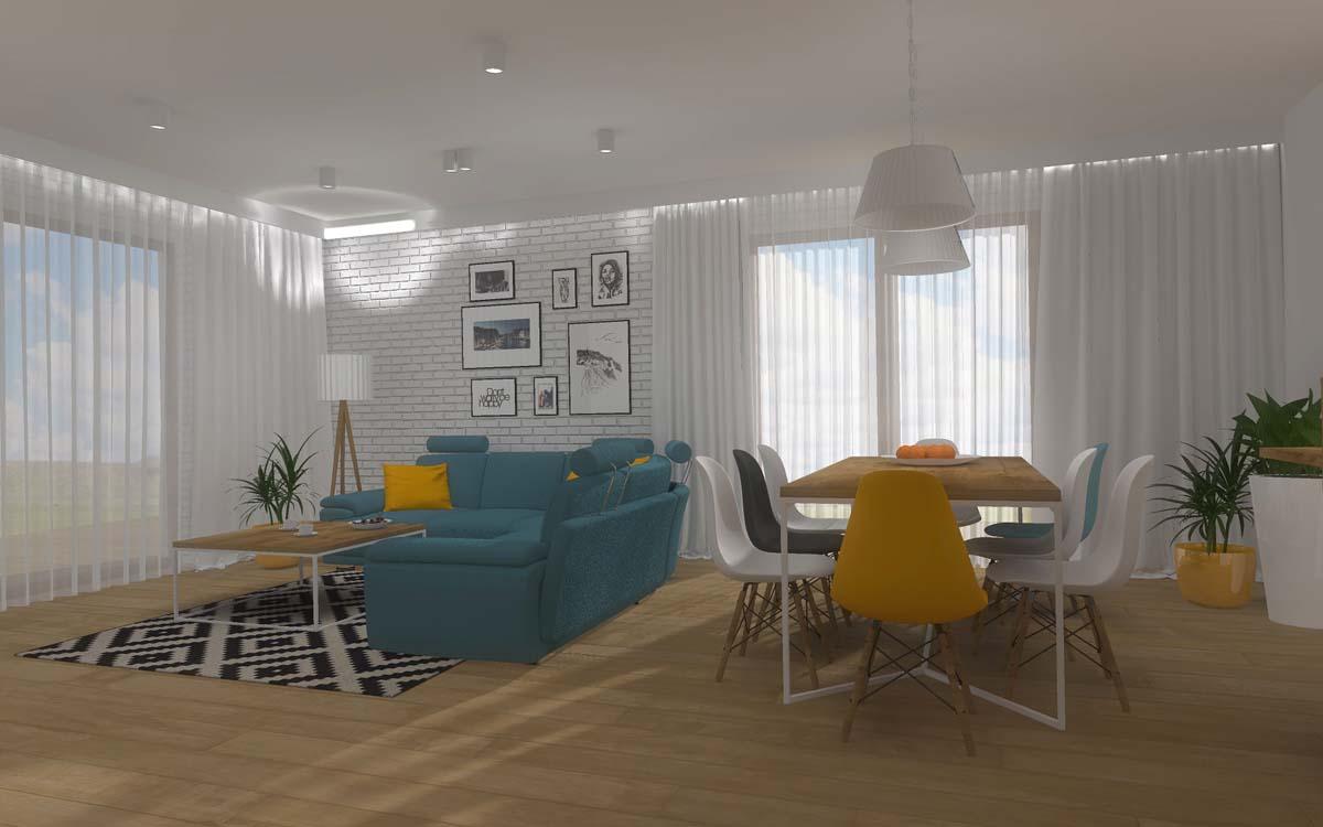 Wizualizacja 3D salonu w prywatnym domu