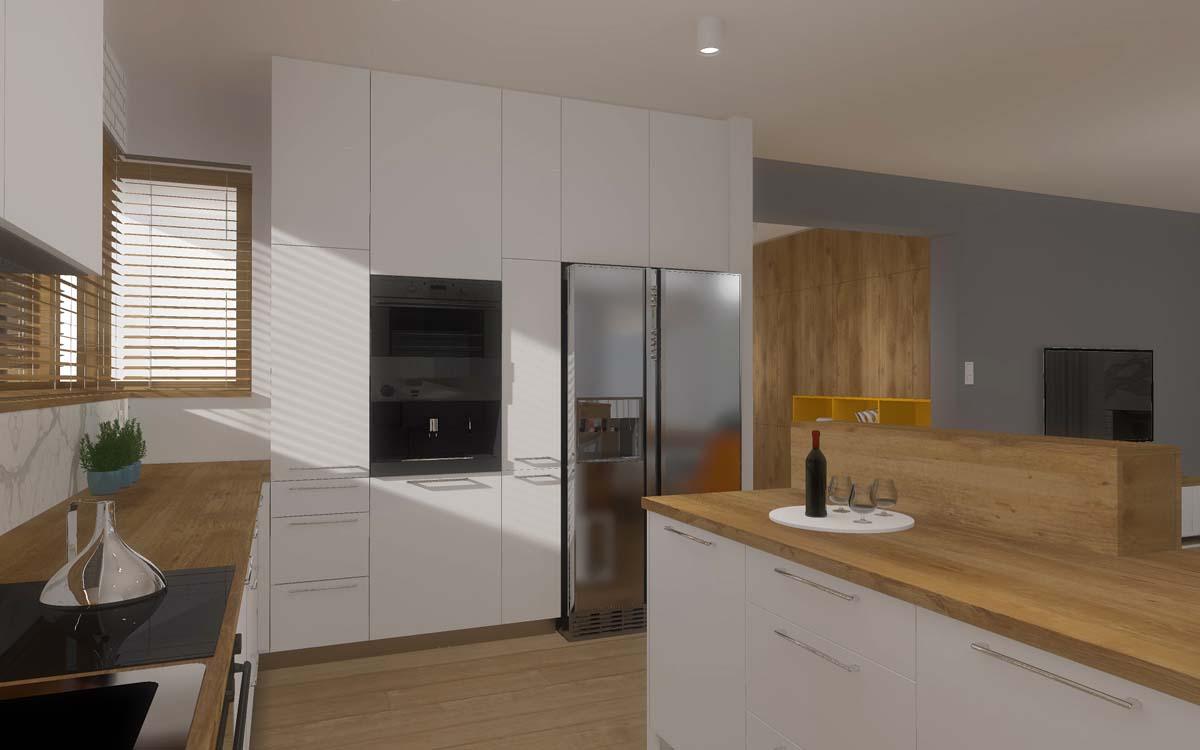 Projekt wnętrza kuchni - zabudowa kuchenna.