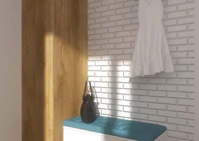 Aranżacja wnętrza korytarza z meblami w projekcie.