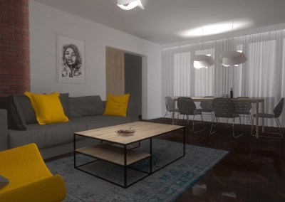 Do projektu wnętrza salonu przygotowano meble na wymiar