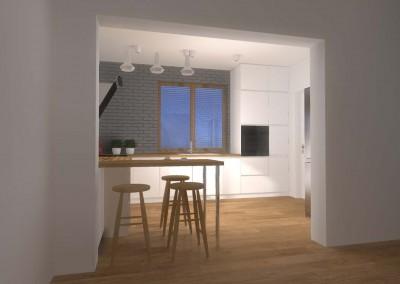 Aranżacja wnętrza nowoczesnej kuchni w bieli z dodatkiem drewna