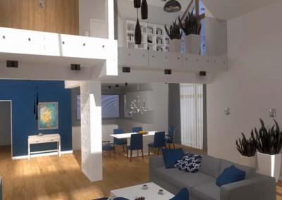 Wizualizacja projektu salonu z jasną tapetą.