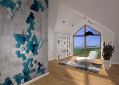 Pokój wypoczynkowy z dużym oknem .