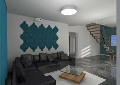 Projekt salonu z narożnikiem od Mobiliani Design - podłoga w szarości.