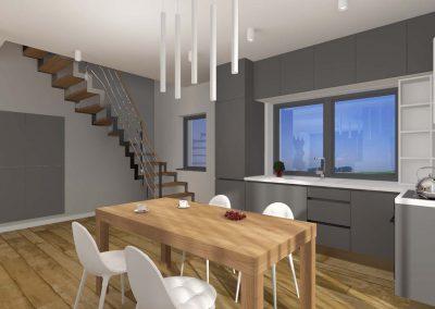Wnętrze przestronnej jadali w domu projektu Mobiliani Design.