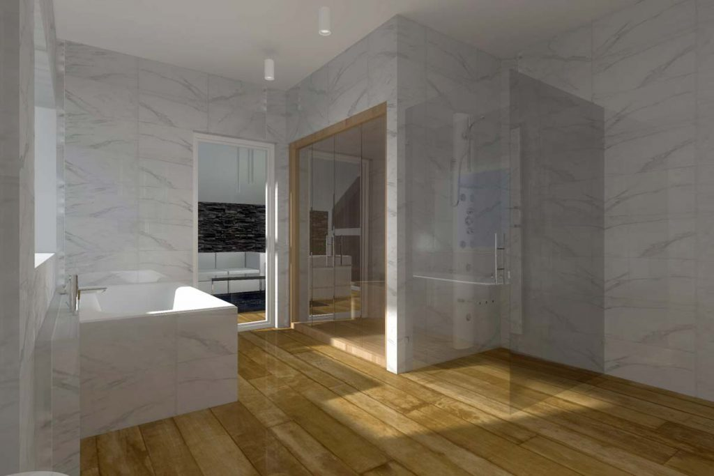 Przestronny projekt wnętrza łazienki w domu.