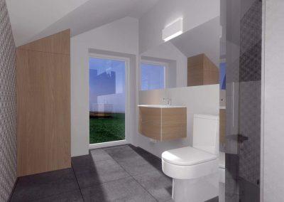 Projekt łazienki z oknem oraz prysznicem.