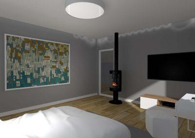 Projekt wnętrza sypialni z kominkiem.