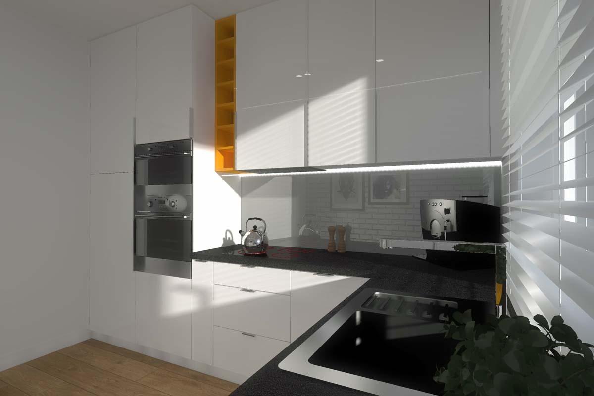 Kuchnia w bloku na osiedlu Budlex  Mobiliani Design Bydgoszcz -> Projekt Kuchni Brw