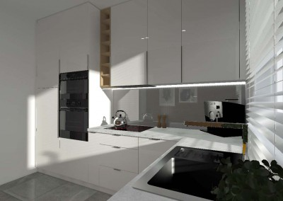 Zabudowa kuchni w projekcie od profesjonalnego architekta wnętrz.