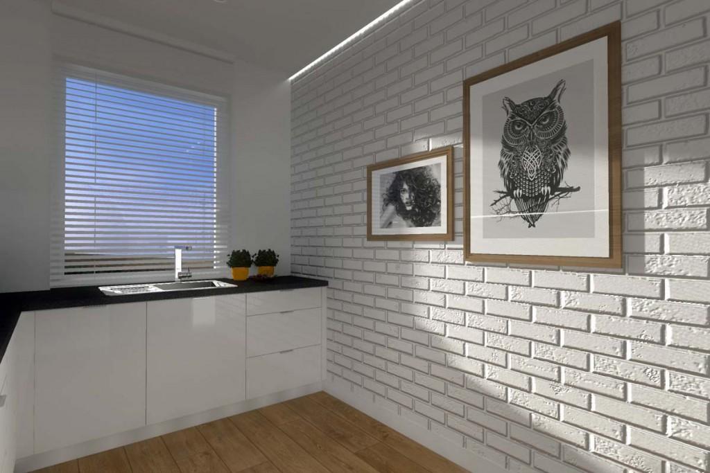Ściana z białych cegieł w kuchni dla osiedla w Bydgoszczy.
