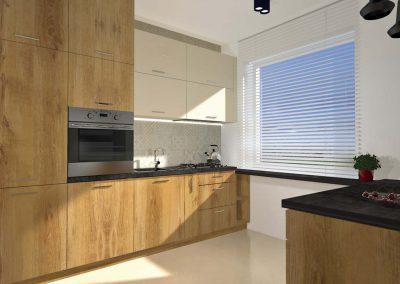 Aranżacja kuchni zawiera piękne meble w kolorze beżu i drewna