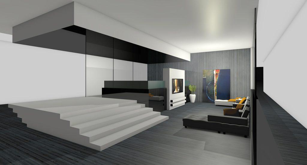 Projekt wnętrza nowoczesnego salonu w Bydgoszczy.