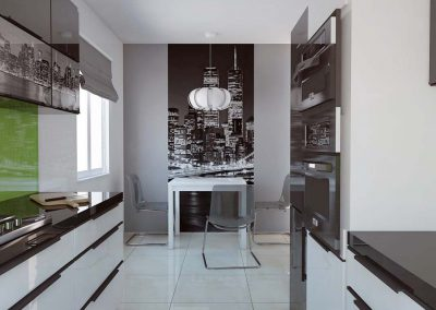 Jadalnia z fototapetą w kuchni.