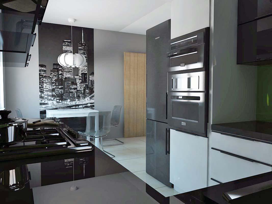 Kuchnia w nowoczesnym połysku bieli i czerni  Mobiliani   -> Kuchnia W Bloku W Bieli