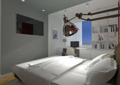 Część projektu sypialni w mieszkaniu na bydgoskim Fordonie.