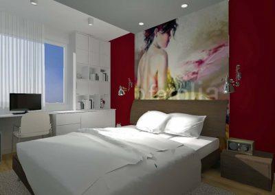 Sypialnia w projekcie wnętrza z designerskim obrazem nad zagłówkiem.