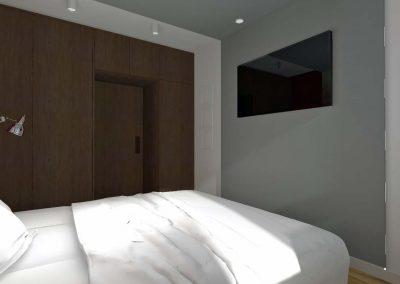 Projekt sypialni - drzwi wejściowe i funkcjonalne szafy do przechowywania.