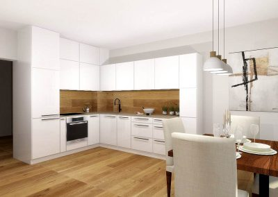 Projekt białej kuchni z drewnem