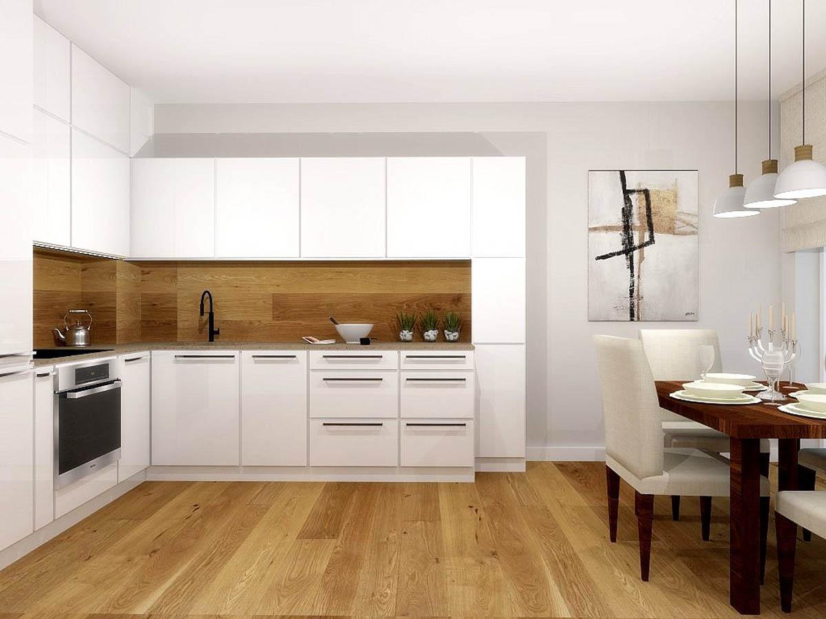 Projekt białej kuchni z drewnem  Mobiliani Design Bydgoszcz -> Kuchnia Z Obrazem