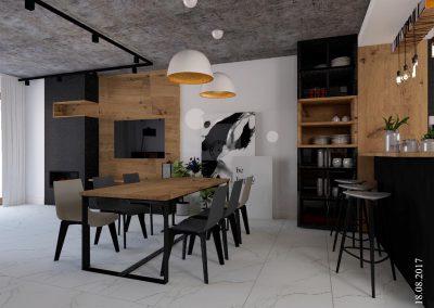 Salon z jadalnią i kuchnią w domu jednorodzinnym