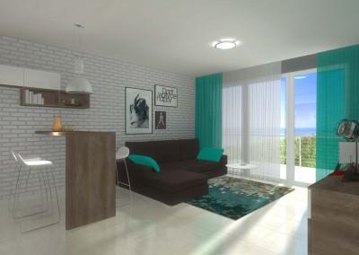Apartament w Darłówku z zaaranżowanym wnętrzem przez projektanta Mobiliani Design w Bydgoszczy.