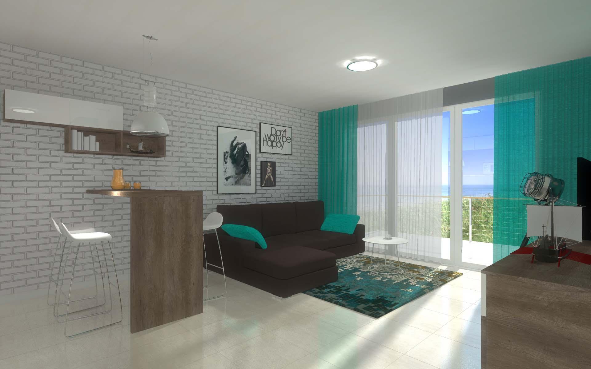 Projekt wnętrza apartamentu Kropla Bałtyku w Darłówku