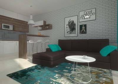 Pokój dzienny, którego wnętrze zostało zaprojektowane w kolorach bieli i morskiego błękitu przez Mobiliani Design w Bydgoszczy.
