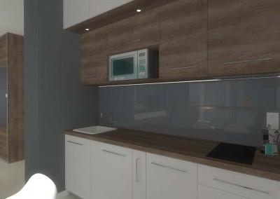 Stylowa biało-brązowa kuchnia, której wnętrze zostało zaaranżowane przez bydgoskiego projektanta Mobiliani Design.