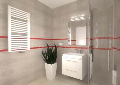 Widok na jedną ze ścian łazienki we wnętrzu zaprojektowanym przez Mobiliani Design w Bydgoszczy.